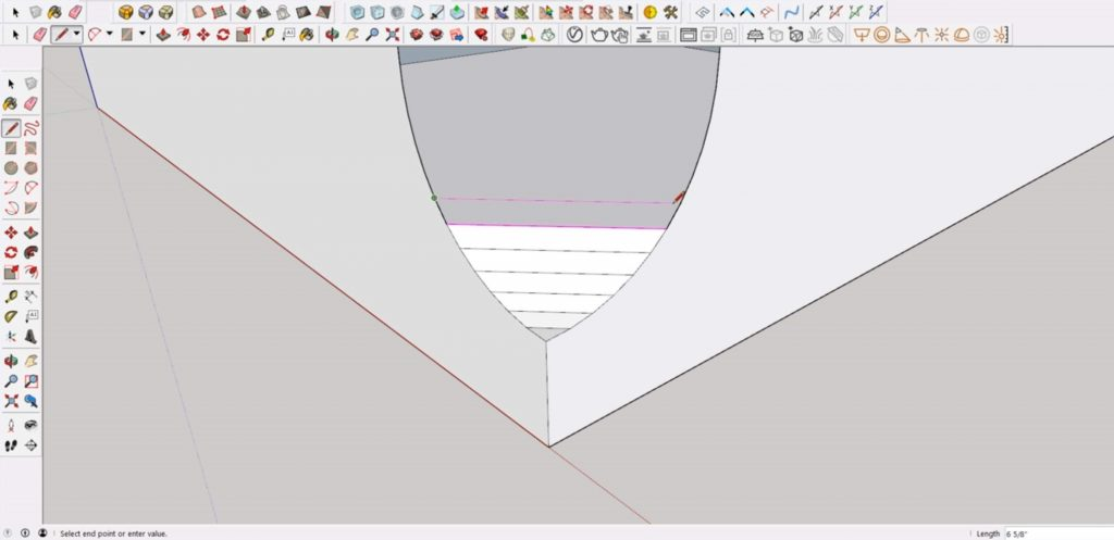 connect endpoints of cutout in Sketchup
