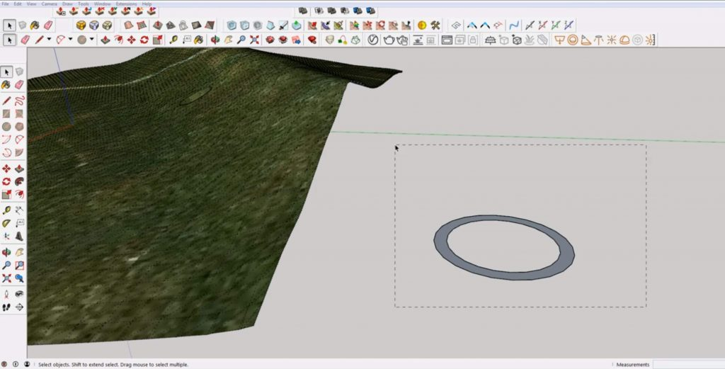 draw ring to cut lines on terrain