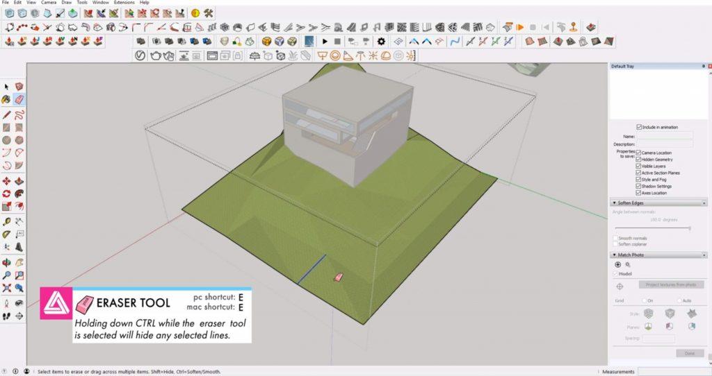 erase lines on Sketchup site model