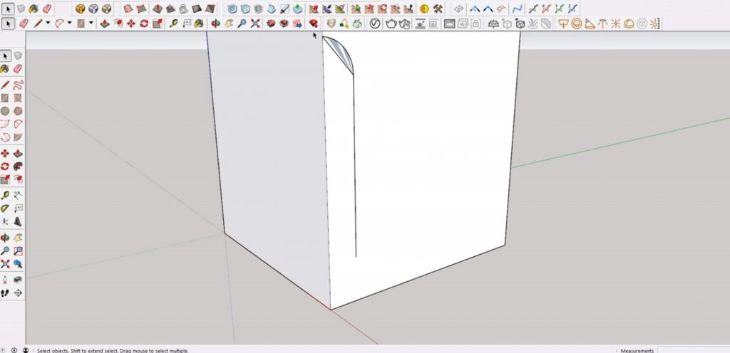 connect arc for cutout in Sketchup