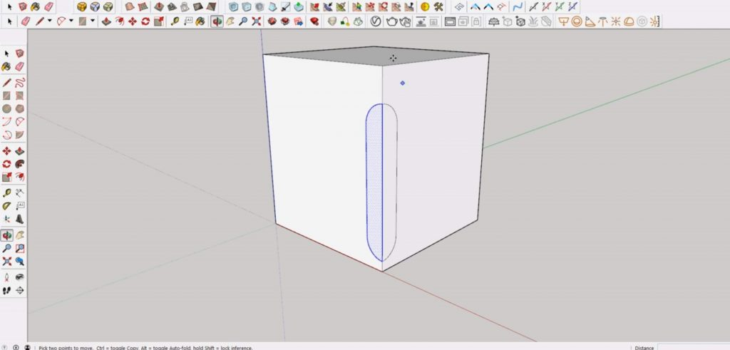 meet curves for cutout in Sketchup