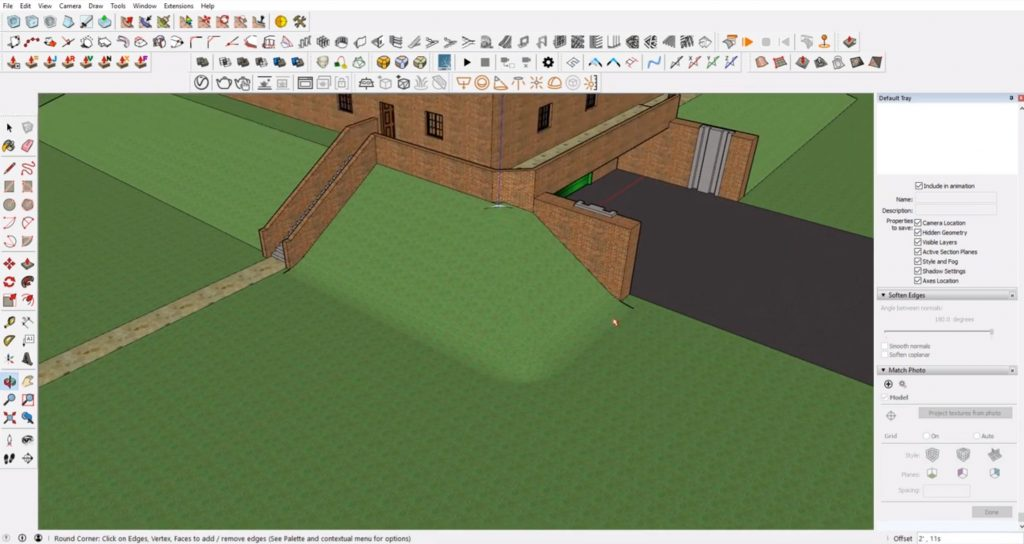 round corners of Sketchup site model