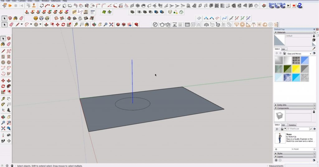 draw 2D in Sketchup circle center point