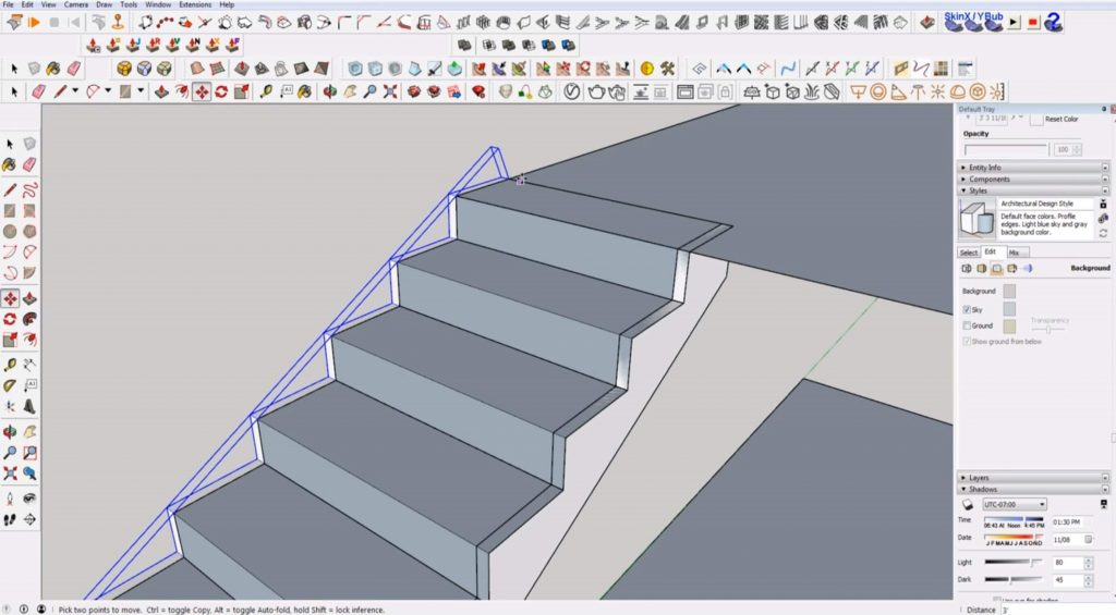 copy stringer to other side of stairs in Sketchup