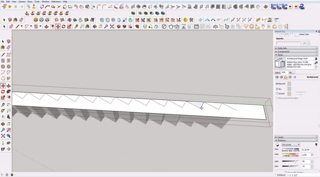 copy tread space on stairs in Sketchup