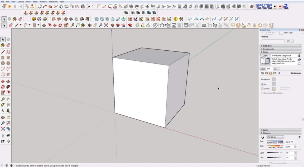 Sketchup for beginners: modeling a cube
