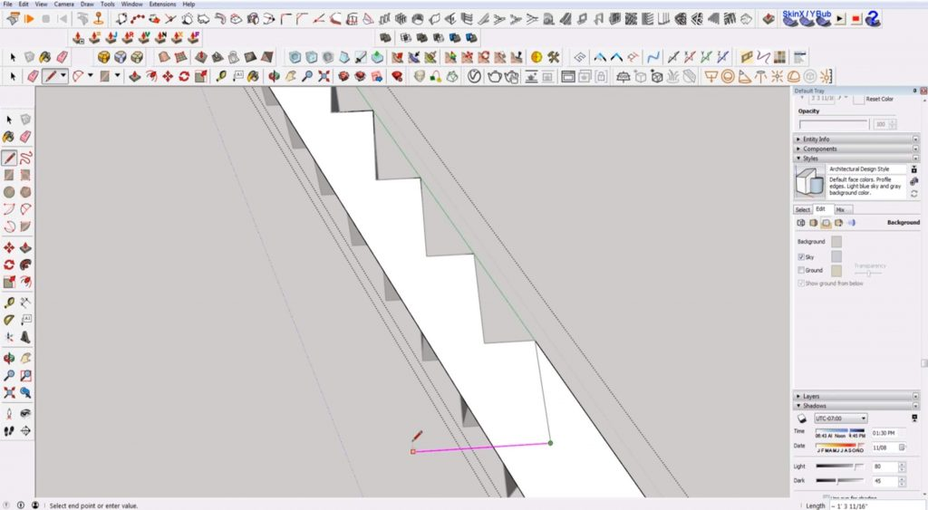 draw perpendicular line on stairs in Sketchup