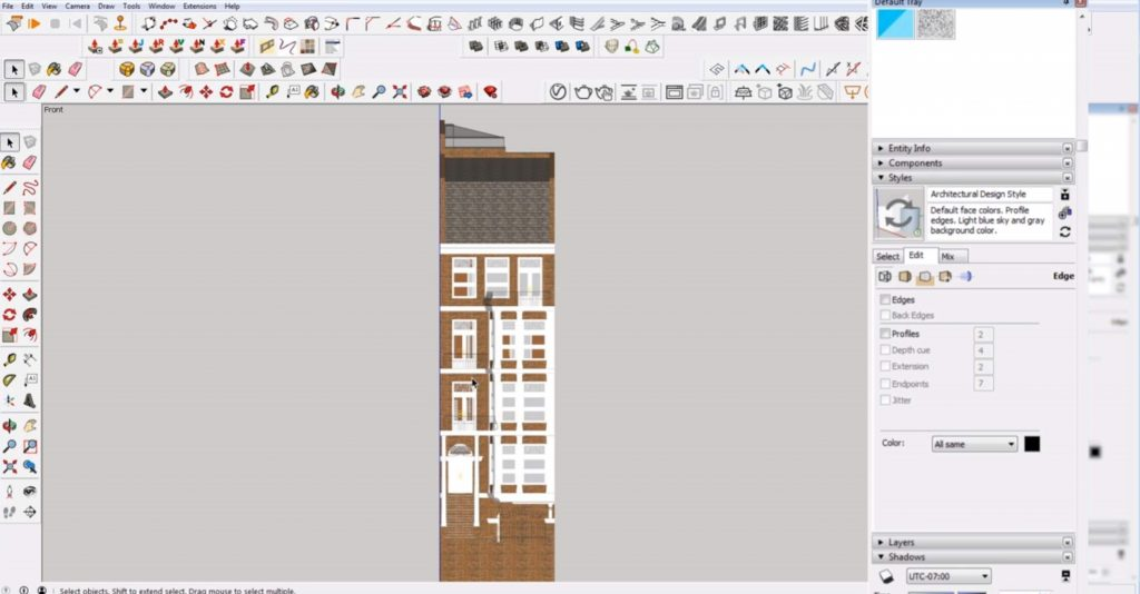 edge settings of 2D elevation in Sketchup