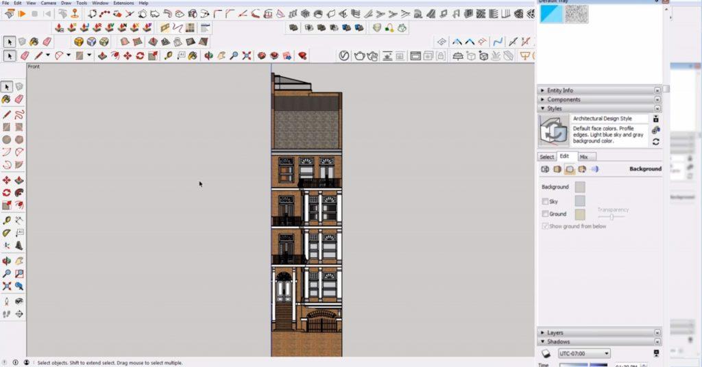 edit tab of 2D elevation in Sketchup