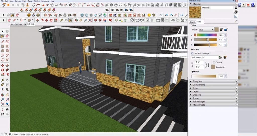 edit materials in Sketchup