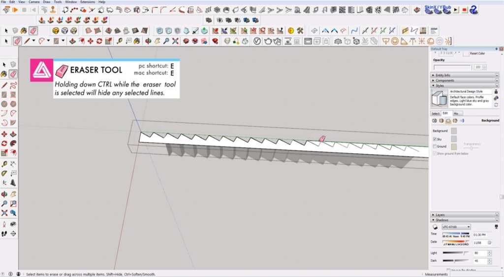 erase stringer space on stairs in Sketchup