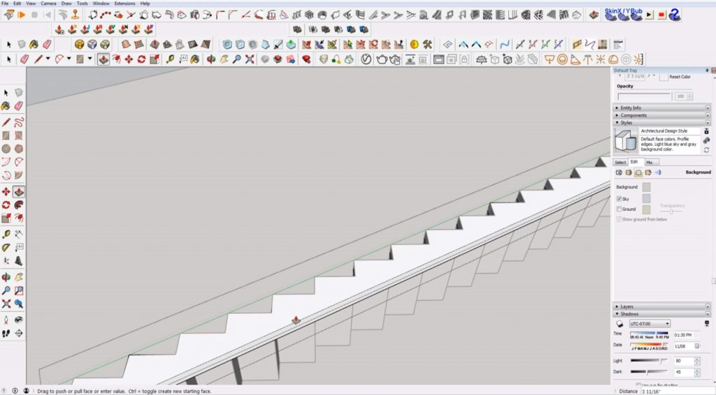 extrude stringer on stairs in Sketchup