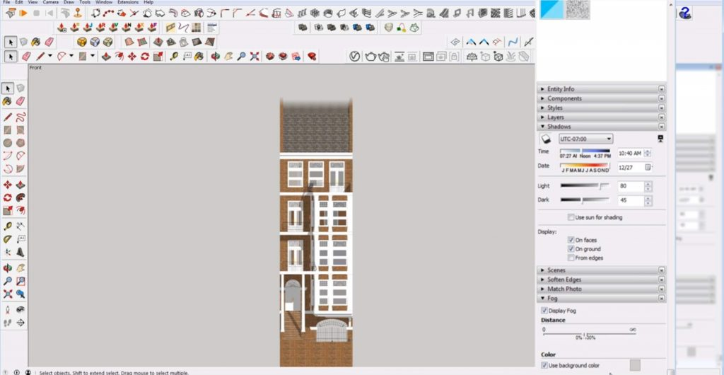 add fog to 2D elevation in Sketchup