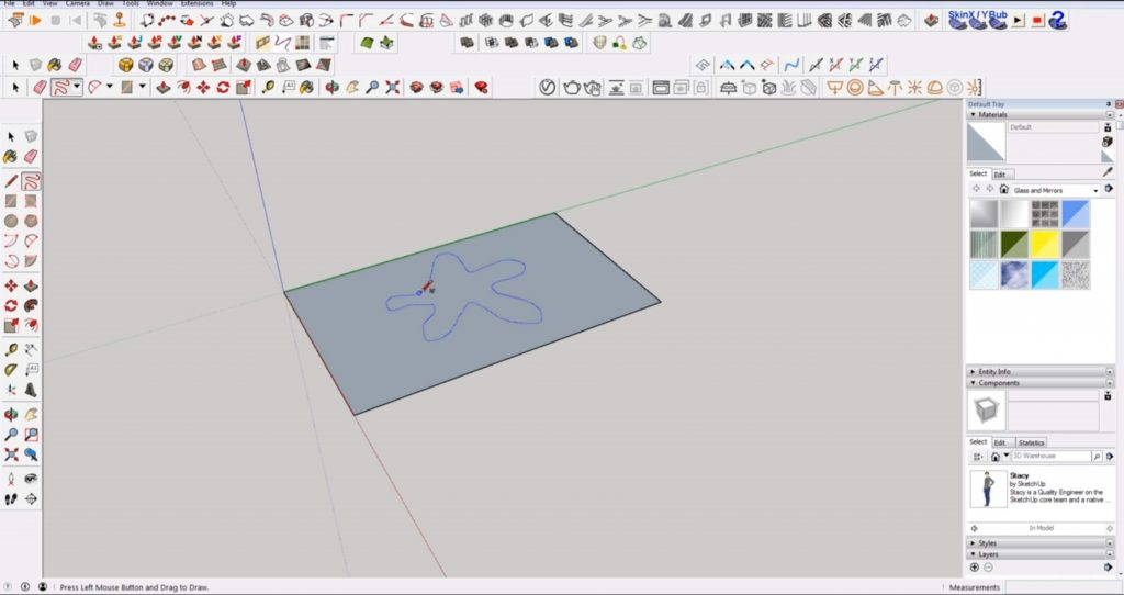 draw 2D in Sketchup with the freehand tool