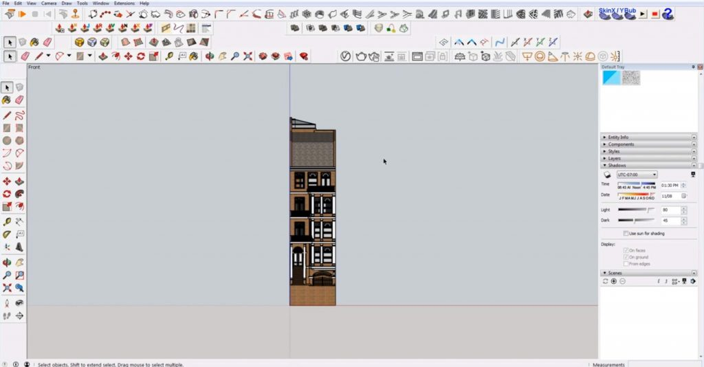 front view of 2D elevation in Sketchup