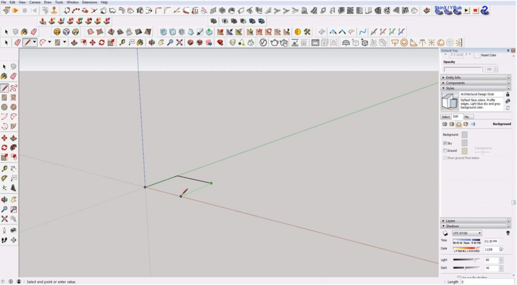 Sketchup for Beginners: locking to axis