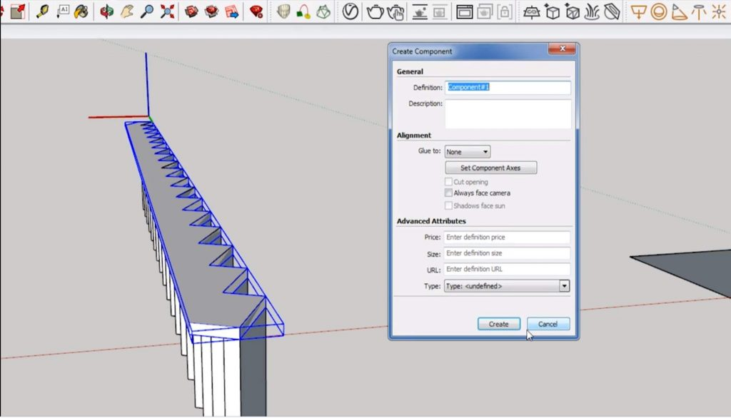 make the stringer a component for stairs in Sketchup