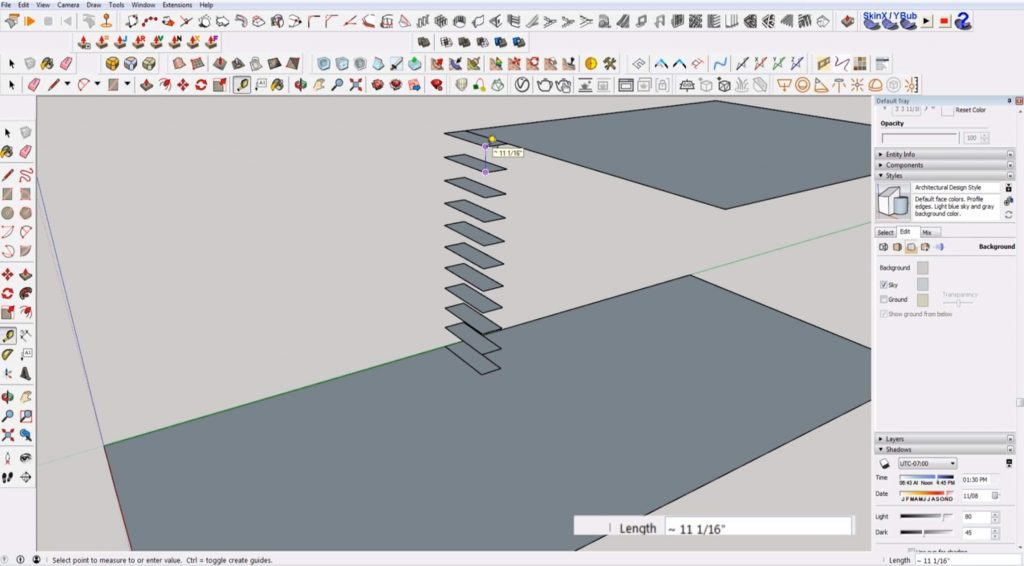 Measure tread distance of stairs in Sketchup