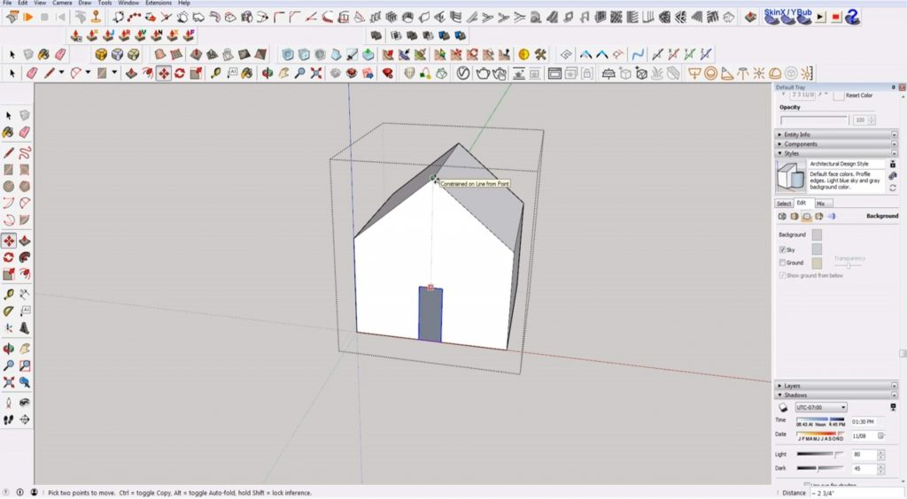 Sketchup for beginners: align door