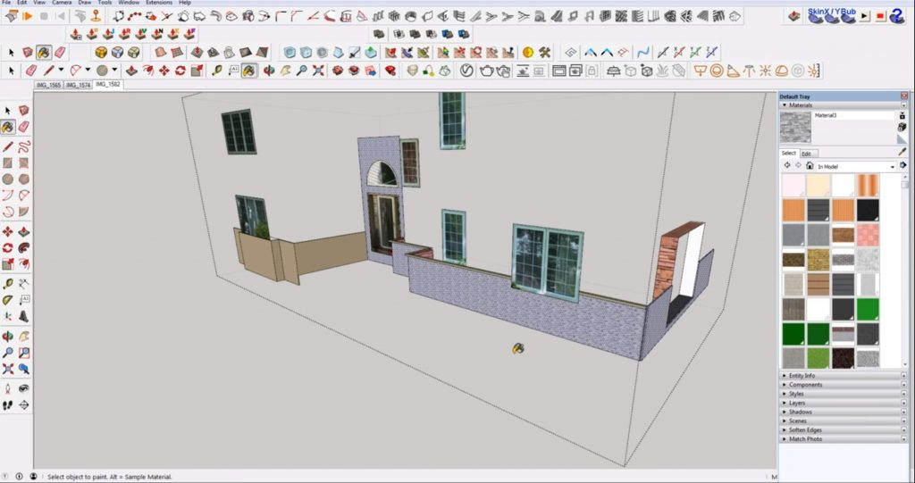 apply materials in Sketchup to multiple faces