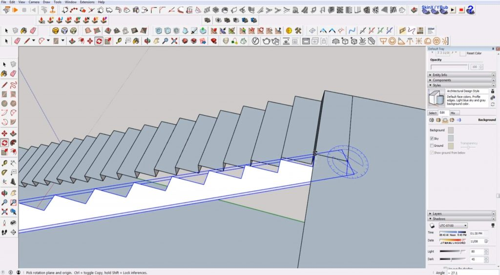 rotate and align stringer to stairs in Sketchup