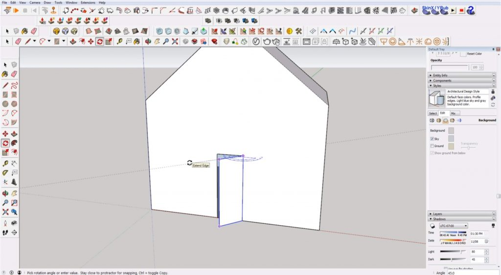Sketchup for beginners: rotate door