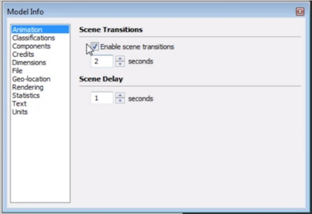 disable scene transitions between 2D elevation in Sketchup and other scenes