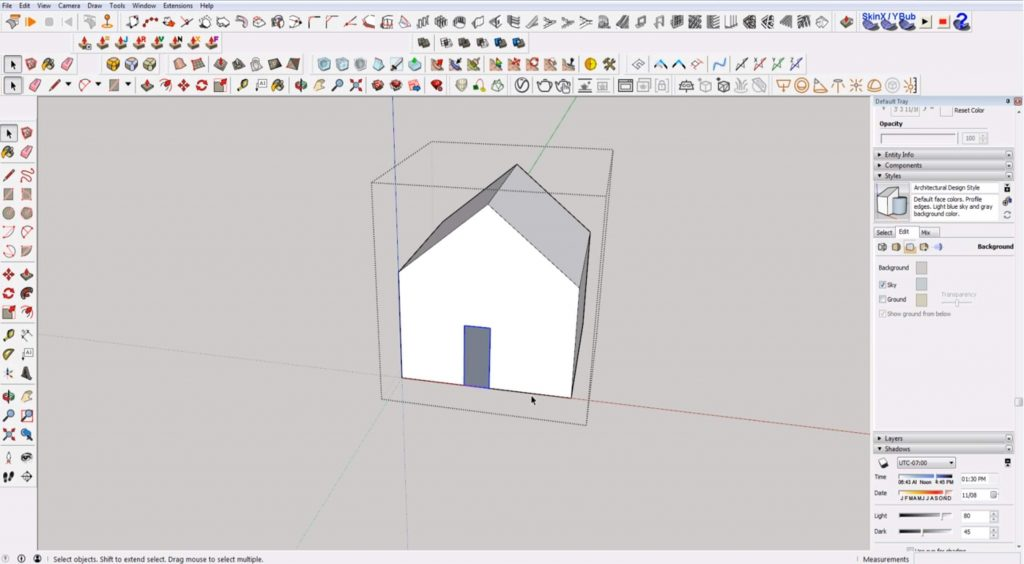 Sketchup for beginners: selecting within bounding box