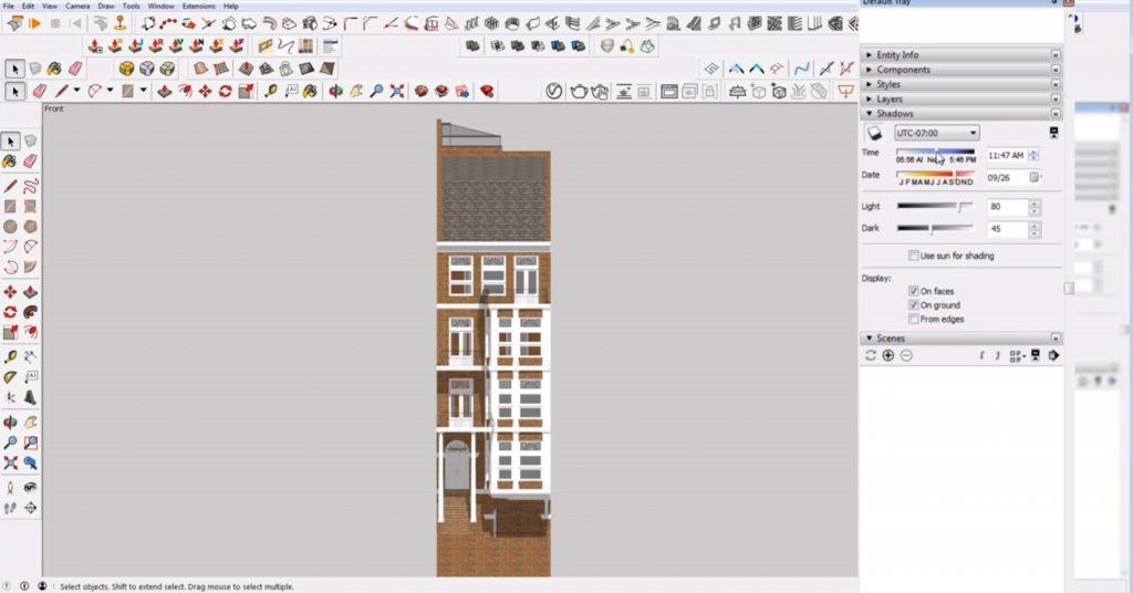 edit shadows of 2D elevation in Sketchup