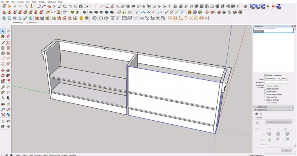 draw back of beadboard on IKEA furniture in Sketchup