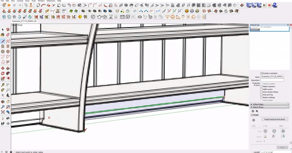 push back edge of IKEA furniture in Sketchup