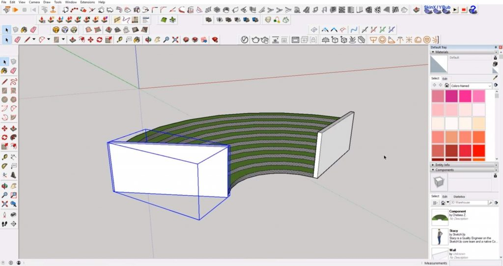 move sloped wall in Sketchup
