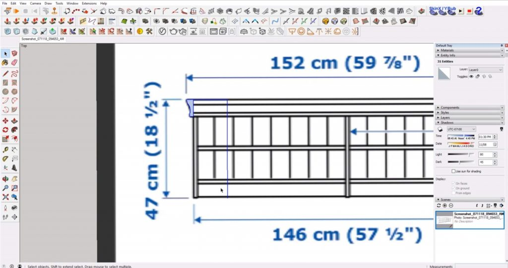 scale profile shape of IKEA furniture in Sketchup
