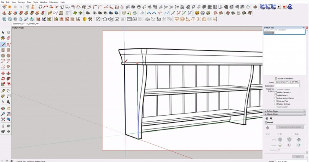 trace end support of IKEA furniture in Sketchup