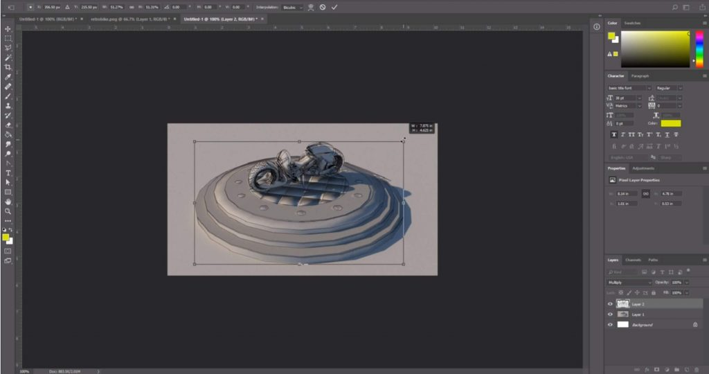 transform line rendering in Photoshop