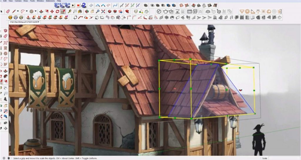 trace roof pediment in Sketchup speed model