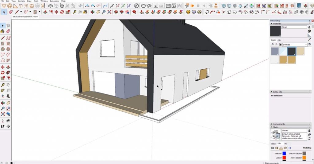 add materials to house in Sketchup
