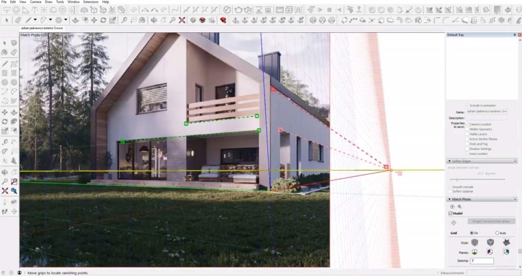 align perspective to house in Sketchup