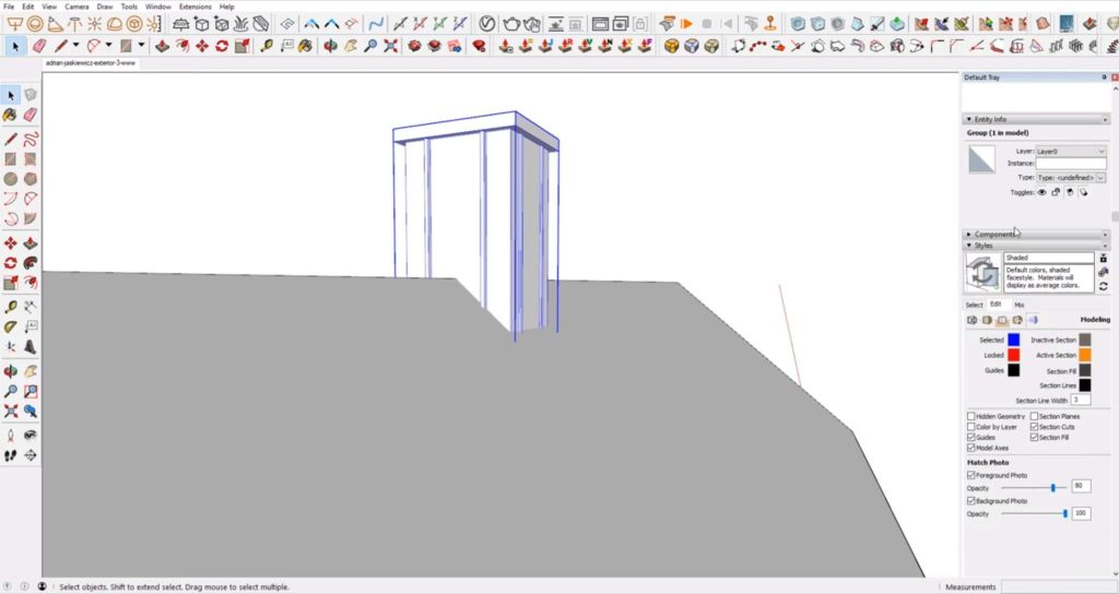 add chimney to house in Sketchup