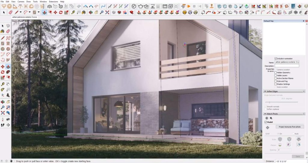 cut out walls of house in Sketchup