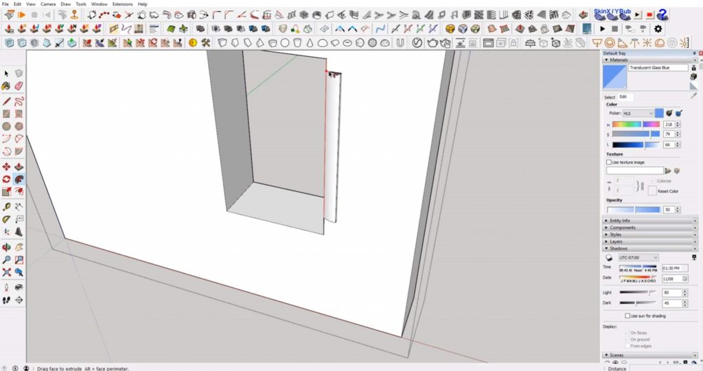 drag trim along windows in Sketchup
