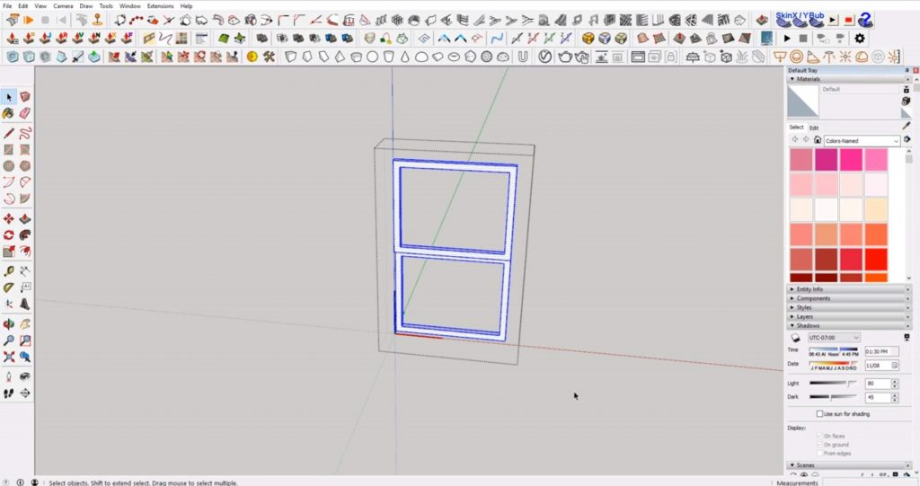 extrude inner panes for windows in Sketchup