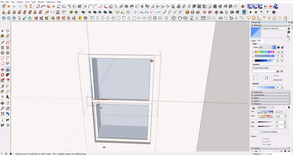 extrude muntins for windows in Sketchup