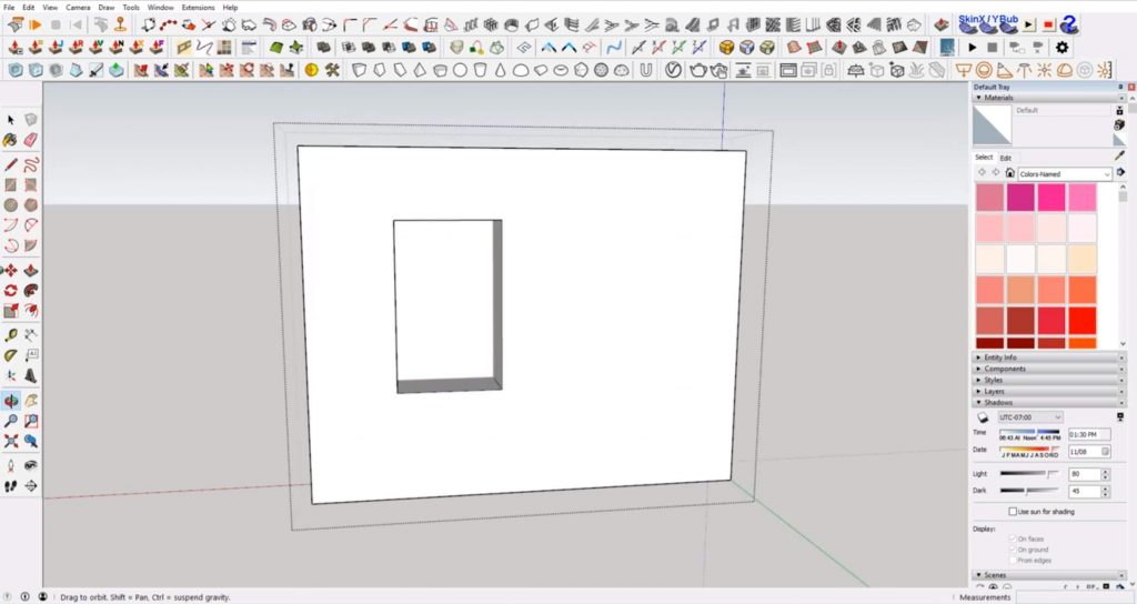 extrude windows in Sketchup through wall