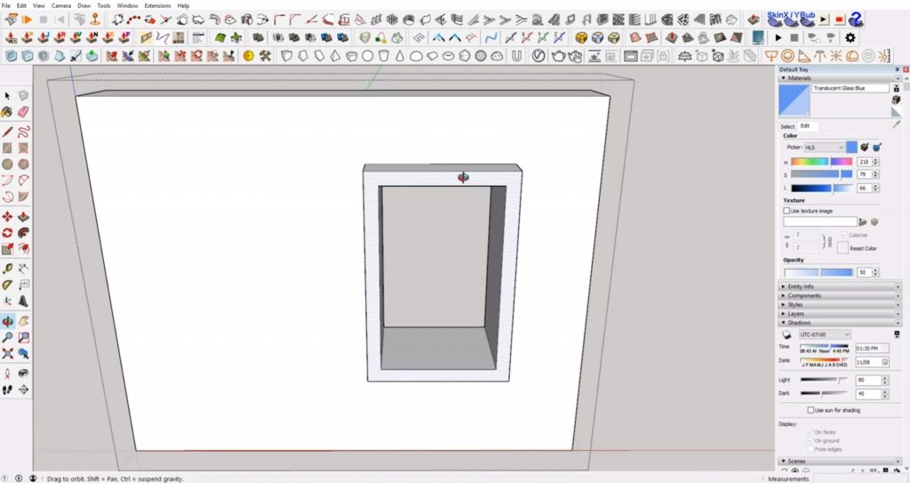 extrude trim of windows in Sketchup