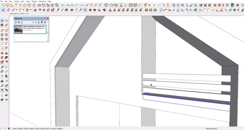 add wood slats to house in Sketchup