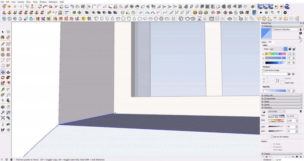 align slope to windows in Sketchup