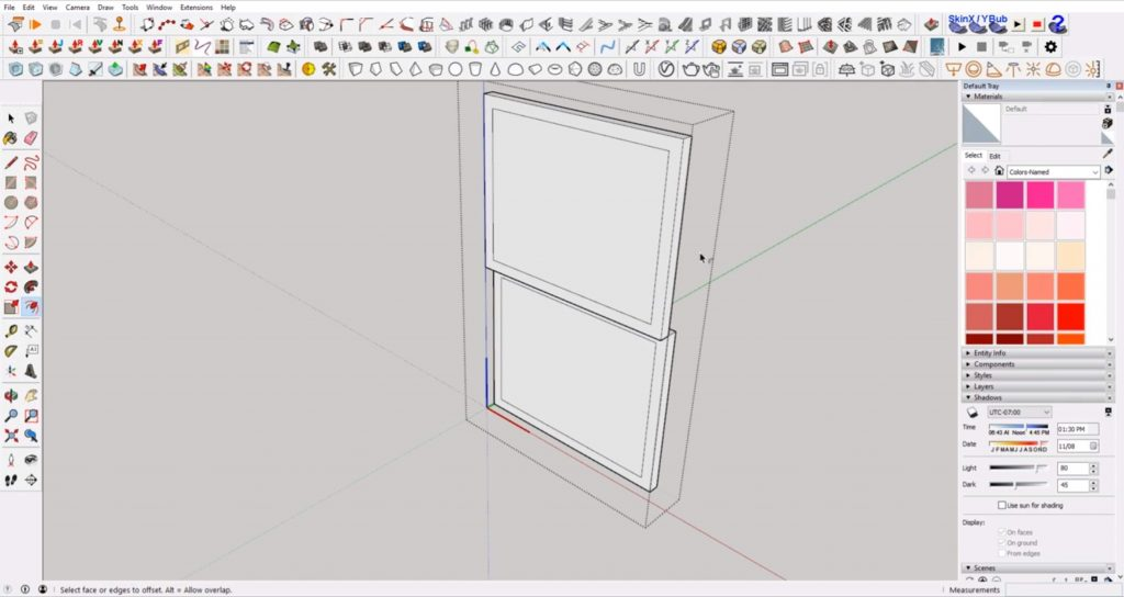 offset pane of windows in Sketchup