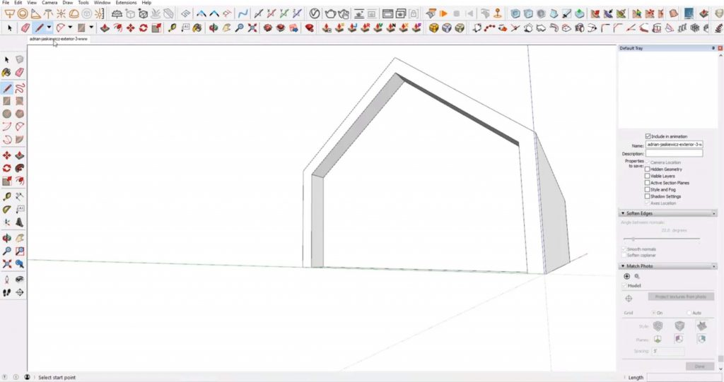 offset roofline in house in Sketchup