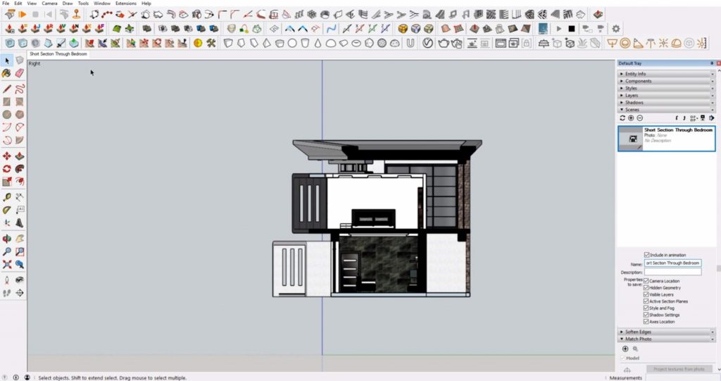 sections in Sketchup first scene